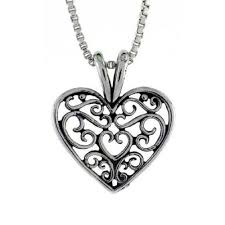 details about sterling silver filigree heart pendant charm 18 italian box chain