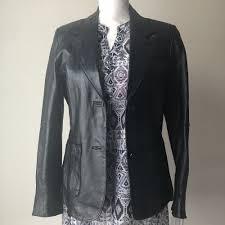 details about jacket leather women s sz 12 m metro style black new excellent condition