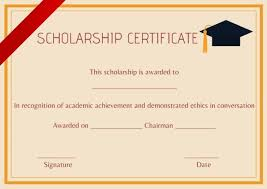 Scholarship Certificate Template High School Scholarship Certificate Template Certificate