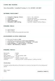 Curriculum Vitae Blank Form Pdf Resume Format Here Are Standard
