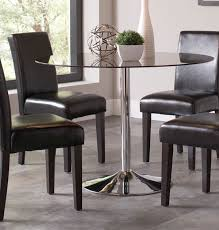 coaster clemente round smoke glass dining table chrome