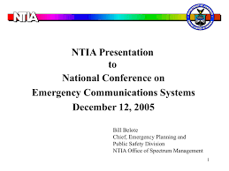 Ntia Presentation To National Conference On Emergency