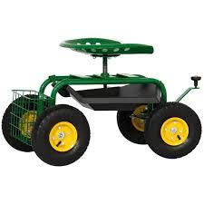 4 wheel mobile rolling garden work seat