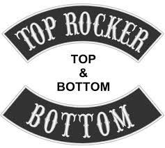 custom faux leather rocker biker mc club vest top and bottom sew on patch 13