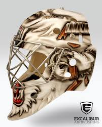 raging bear goalie mask designed and airbrushed by ian johnson