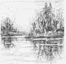 water reflection drawing. pin drawn water pen and ink #14 reflection drawing e