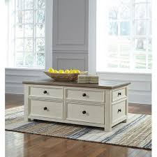 antique white brown lift top cocktail