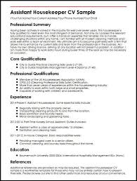 Executive Housekeeper Resume Simple Housekeeper Cv Sample Of Professional Resume Systematic Or Cv