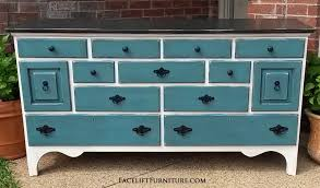 blue and white furniture. Large Dresser In Off White, With Black Top And Sea Blue Drawers. Glazed White Furniture N