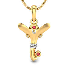 initial y vakratunda ruby pendant jewellery ping india yellow gold 18k candere by kalyan jewellers