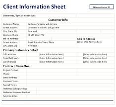 Enchanting Client Information Template Model - Resume Ideas ...