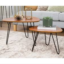 Hairpin Leg Wood Nesting Coffee Table Set - Walnut - Free Shipping Today -  Overstock.com - 22281000