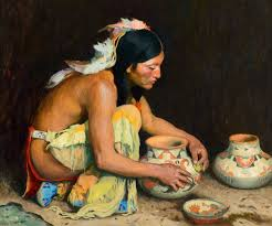 the pottery maker 1923 eanger irving couse depicting a plains indian
