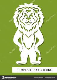 Cut Out Character Template Lion Silhouette White Cartoon Character Green Background