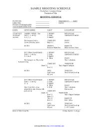 Shooting Schedule Sample Sample Shooting Schedule Pdfsimpli
