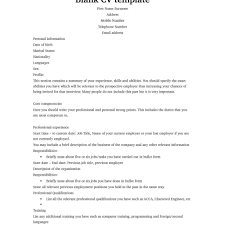 Curriculum Vitae English Example Pdf Free Cv Template Intended For R