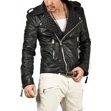men s black studded leather jacket zoom men s