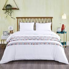 california design den boho tassled duvet cover set cotton white full queen 3 piece com