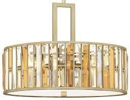 hinkley gemma luxury 3 light crystal drum pendant silver leaf