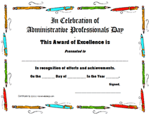 Administrative Professional Certificate Free Printable Administrative Professionals Secretarys Day