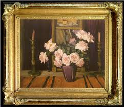 roses and candlesticks jane peterson oil 30 x 40 inches