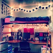 To save space and make things more cozy, move your desk under your top  bunk. Add lots of lights to make the whole area look nicer. cool dorm rooms