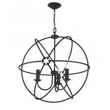 orb black gyroscope pendant light