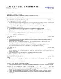 Sample Resume For Law School