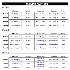 Workout Calendar Template Excel Fitness Schedule Free