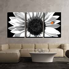 sunflower in black and white with red ladybug x3 panels favorite canvas art on sunflower wall art canvas with sunflower in black and white with red ladybug x3 panels canvas art
