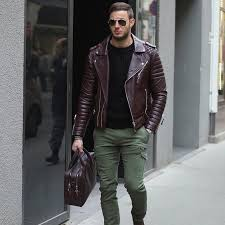 opt for comfort in a jacket and olive green cargo pants seeing as the weather