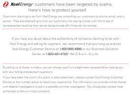 Xcel Energy Customer Service Xcel Energy Scam 05 2019 Sac