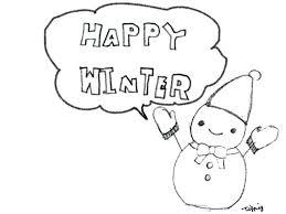 フリー素材イラストモノトーンの大人かわいい雪だるまとhappywinterの