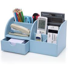 office desktop storage. Amazon.com : KINGOM 7 Storage Compartments PU Leather Office Desk Organizer, Desktop Stationery Box Collection, Business Card/Pen/Pencil/Mobile O