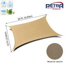 petra s 20x10 ft rectangle sail shade durable outdoor patio fabric desert sand 0
