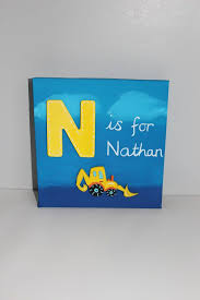 kids room canvas wall art personalised canvas painting yellow digger name art bedroom wall art personalised gift ideas for kids kids rooms  on personalised canvas wall art uk with kids room canvas wall art personalised canvas painting yellow digger
