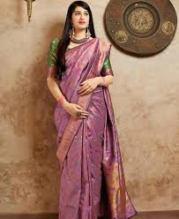 Light Purple Color Saree Beauteous Light Purple Silk Saree