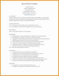 Template Best Resume Template In Microsoft Word New Free Printable