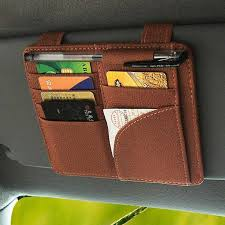 details of aolvo multi function car ticket cd clip card holder sunshade block glasses clip car sun visor organizer pouch for registration and insurance