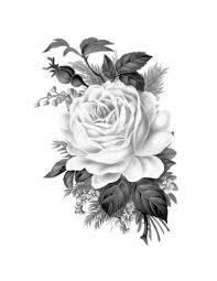 šedá Růže Nalepovací Tetování