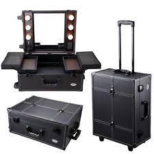aw cosmetic makeup case artist studio barber salon trolley box w light mirror