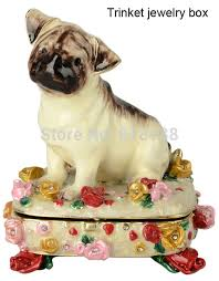 Decorative Ring Boxes Dog animal trinket box enamel metal keepsake jeweled jewelry 90