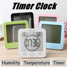digital bathroom wall clock waterproof suction cups countdown timer humidity thermometer alarm clock