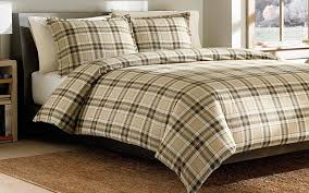 ed bauer edgewood plaid cotton flannel duvet cover set