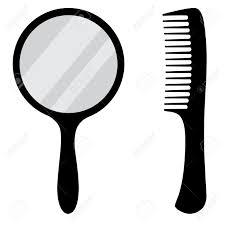 mirror clipart black and white. black, small, hand mirror vector icon set. barber comb. stock - clipart black and white