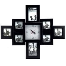 black photo frame wall clock at rs