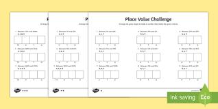Place Value Challenge Worksheet Worksheet Place Value