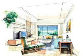 Sketches Of Living Room Interior Interior Design Drawing Living Room