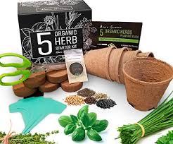 premium 5 herb organic garden grow kit complete starter kit for indoors or outdoor garden