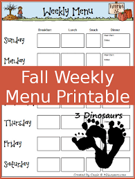 Weekly Menu Free Fall Weekly Menu Printable | 3 Dinosaurs